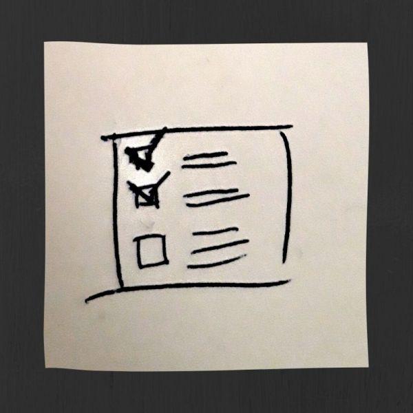 Stiliserad att göra-lista med några förbockade punkter.